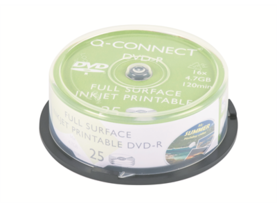 DVD-R Q-Connect 16x printable 4.7GB spindle/25 - Muistitikut, CD, DVD, Blu-ray - 393640 - 1